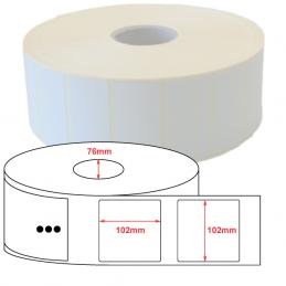 Etiquette Polyethylène 102x102 mm blanc brillant