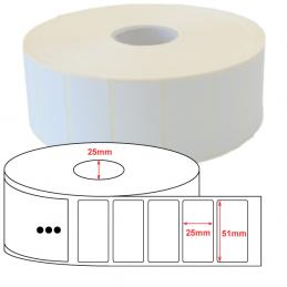 Etiquette Polyethylène 51x25 mm blanc brillant