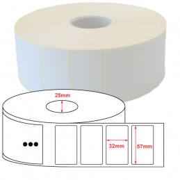 Etiquette Polyester 57x32mm blanc brillant