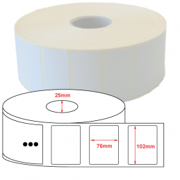 Etiquette Polyester 102x76mm blanc brillant