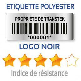 Etiquette d'inventaire polyester 40x15mm avec code-barre