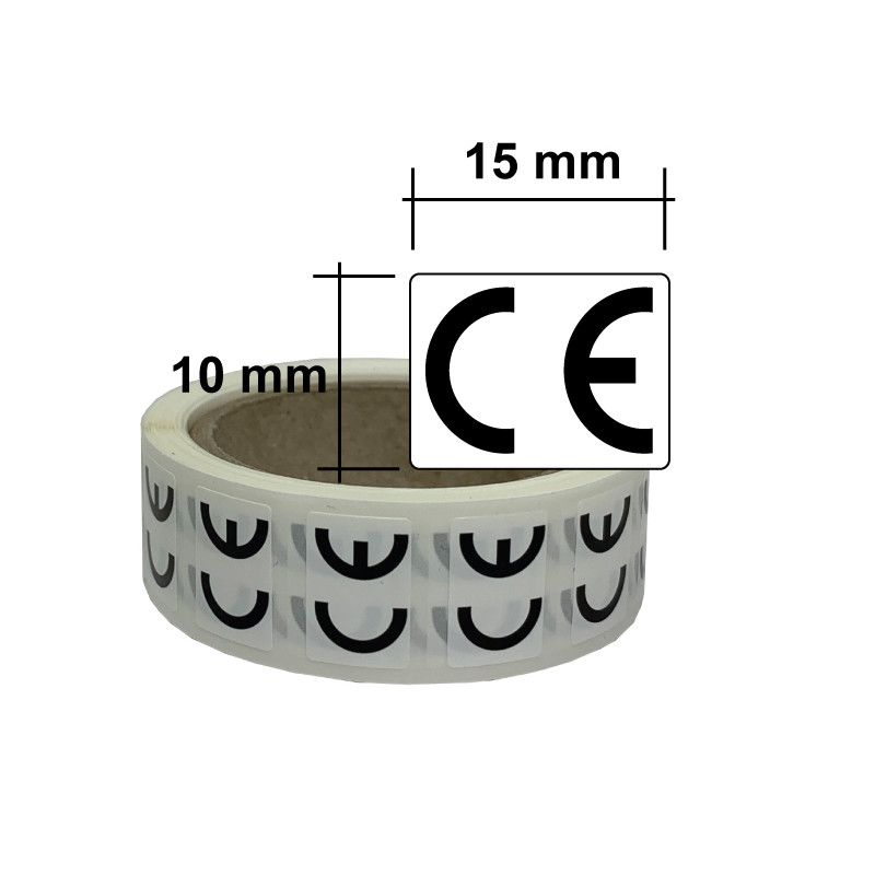 Etiquette CE 15x10mm en rouleau de 500 étiquettes