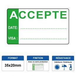 Etiquette prélaminée 35x20mm - ACCEPTE