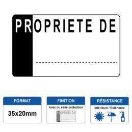 Etiquette prélaminée 35x20mm - PROPRIETE