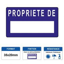 Etiquette prélaminée 35x20mm - PROPRIETE DE