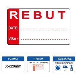 Etiquette prélaminée 35x20mm - REBUT