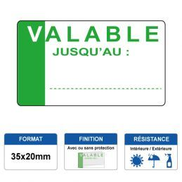 Etiquette prélaminée 35x20mm - VALABLE