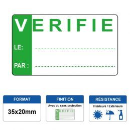 Etiquette prélaminée 35x20mm - VERIFIE