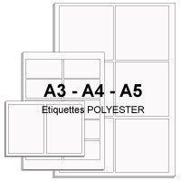 Etiquettes en planches A4, A3 et A5 polyester